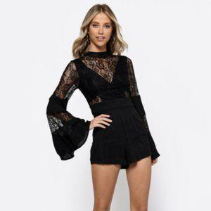 Black Lace Long Sleeve Romper